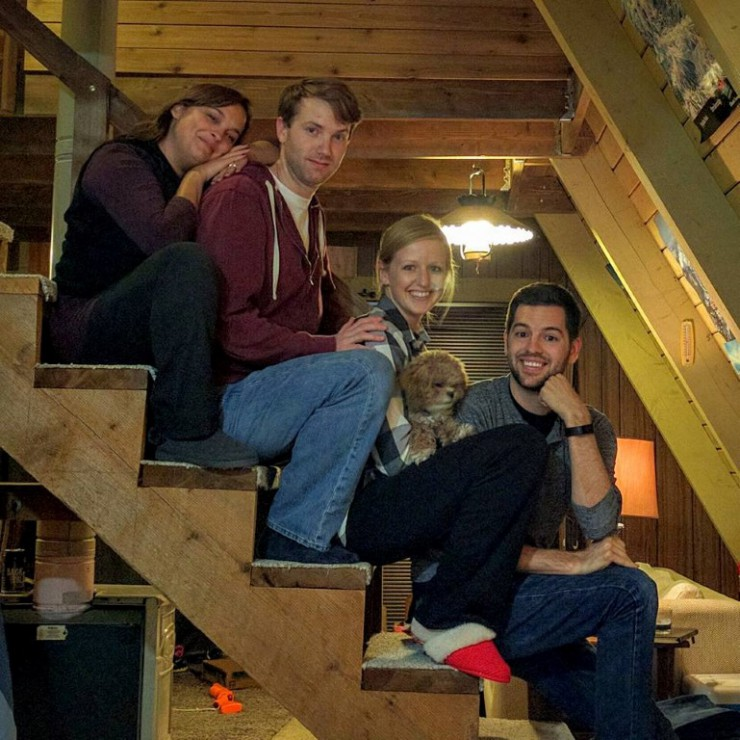"""Our super awkward """"family"""" glamping photo. This is why we're such good friends."""